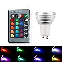 LED Remote Control Lights, SAVFY 4PCS GU10 3W 16 Color Changing RGB LED Light Bulb Remote Control Lamp by SAVFY