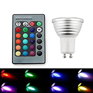 LED Remote Control Lights, SAVFY 4PCS GU10 3W 16 Color Changing RGB LED Light Bulb Remote Control Lamp by SAVFY