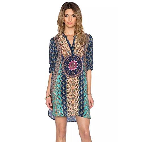 Women-Chiffon-Dress-Misaky-Ladies-34-Sleeves-Vintage-Print-Loose-Dress