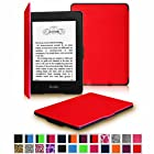 Fintie Kindle Paperwhite SmartShell Case - The Thinnest and Lightest Leather Cover for Amazon Kindle Paperwhite (Both 2012 and 2013 Versions with 6 Display and Built-in Light), Red