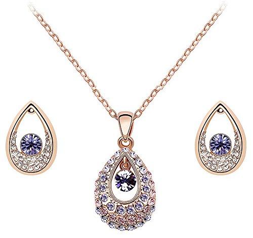 39e1c130caa5ea Swarovski Elements - Parure de bijoux 3 pièces - pendentif et boucles  d oreilles larme de princesse