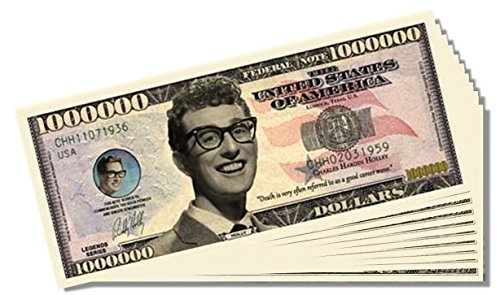Buddy Holly Million Dollar Bill - 10 Count with Bonus Clear Protector & Christopher Columbus Bill