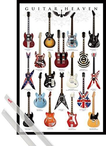 Poster + Sospensione : Chitarre Poster Stampa (91x61 cm) Guitar Heaven, Rock Hall Of Fame E Coppia Di Barre Porta Poster Trasparente 1art1®