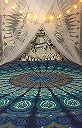 Beautiful Blue Peacock Mandala Tapestry By Bohomandala - A Perfect Hippie, Bohemian, Indian, Boho, Dorm, Hippy, Psychedelic, Wall Hanging.