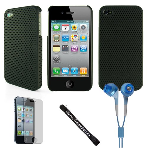 Aero Mesh Design Custom Style Durable For Apple Iphone 4 + Determination Hand Strap + Hd Earbuds (3.5Mm Jack)