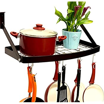 DecoBros Wall Mount Square Grid Pot Pan Rack includes 8 hooks, 25 by 12-inch,Bronze