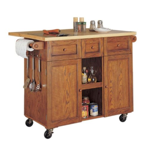 Cheap Powell 534-477 Medium Oak 3-Door Kitchen Island Cart (534-477)