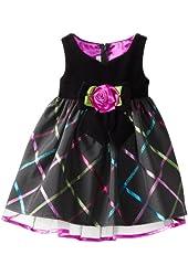 Bonnie Jean Little Girls' Velvet To Plaid Sweetheart Dress