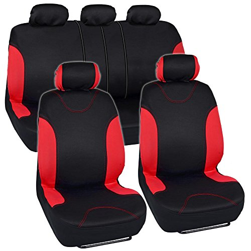 Red Trim Black Car Seat Covers Full 9pc Set - Sleek & Stylish - Split Option Bench 5 Headrests Front & Rear Bench (2006 Dodge Ram Camo Seat Covers compare prices)