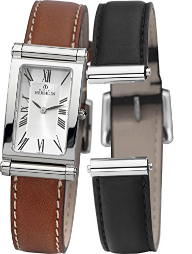 Michel Herbelin Antares Interchangeable Women's Quartz Watch with Silver Dial Analogue Display and Brown Leather Strap COF17448/01NG
