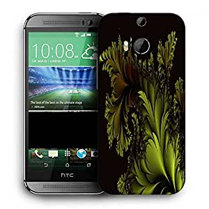 Snoogg Fractal Leaf Abstract Printed Protective Phone Back Case Cover For HTC One M8