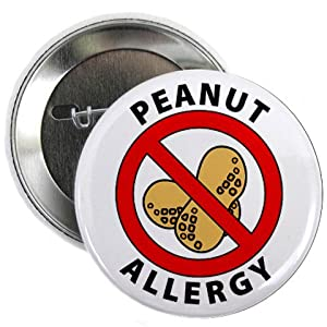 PEANUT ALLERGY Medical Alert 2.25 inch Pinback Button Badge by Creative Clam