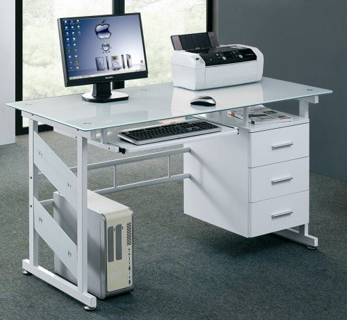Contemporary Home Office Desk: Lonshine 0.4 Inch Tempered