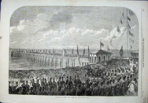 1864 View Opening New Pier Deal People Ceremony Flags