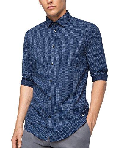 ESPRIT Collection 076EO2F005, Camicia Formale Uomo, Blu (Navy), 41 cm (Taglia Produttore: 41-42)