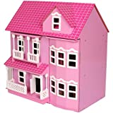 Mamakiddies Victorian Wooden Doll House/ Furniture and Dolls (Pink)by Mamakiddies
