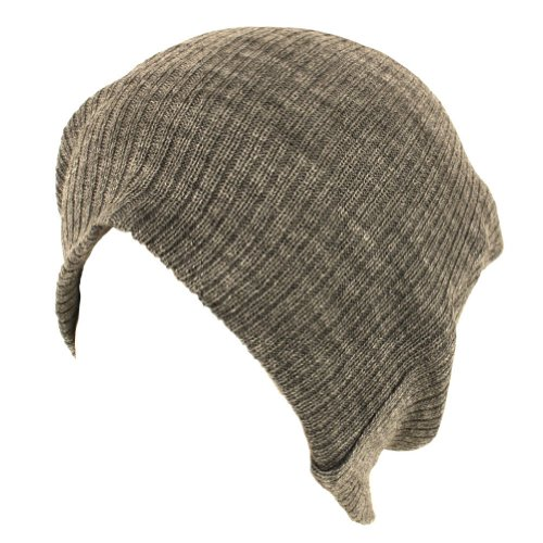 Gossip Girl Soft Ribbed Ski Beanie Slouch Slouchy Knit Hat Heather Gray