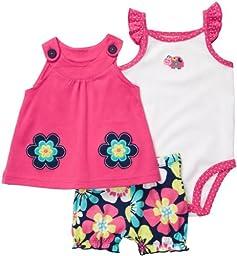Carter\'s Newborn Girls 3-pc. Pink Floral Oh So Fun Short Set