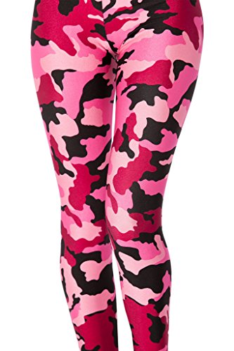 QZUnique Women's Printed Stretch Footless Elastic Camouflage Tights Leggings