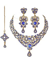 I Jewels Traditional Gold Plated Stone Necklace Set With Maang Tikka For Women (Blue)(M4038Bl)