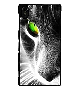 ColourCraft Scary Cat Look Design Back Case Cover for SONY XPERIA Z1