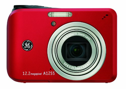 Black Friday GE A1255 12MP Digital Camera with 5X Optical Zoom and 2.7-Inch LCD with Auto Brightess (Red) Deals