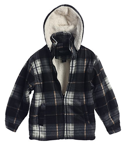 Gioberti Boys Flannel Jacket with Sherpa Lining, Removable Hood