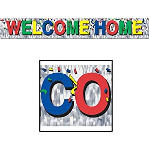 Metallic Welcome Home Fringe Banner Party Accessory (1 count) (1/Pkg) from The Beistle Company