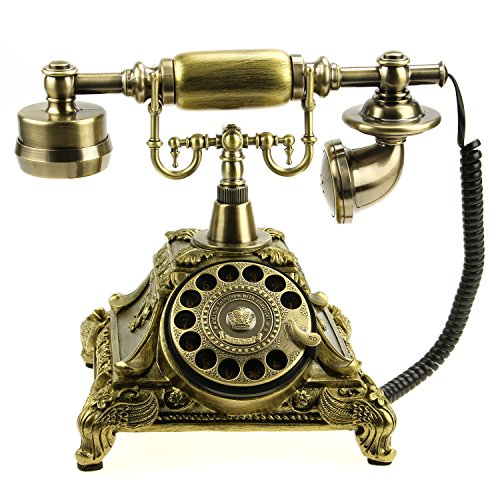 Bronze MS-5501A Retro Vintage Antique Style Rotary Dial Desk Telephone Phone Home Living Room Decor