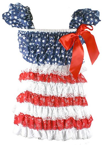 Romper Dress Patriotic Red White Lace Blue Stars Satin Top Large 2T-4T front-997523