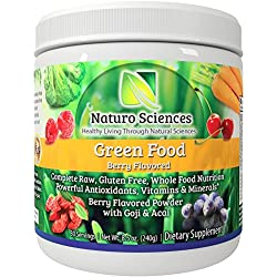 Naturo Sciences Natural Greens - Complete Raw Whole Green Food Nutrition with Super Powerful Antioxidants, Vitamins, Minerals with Goji and Acai - Amazing Berry Flavor 8.5oz (240g) 30 Servings