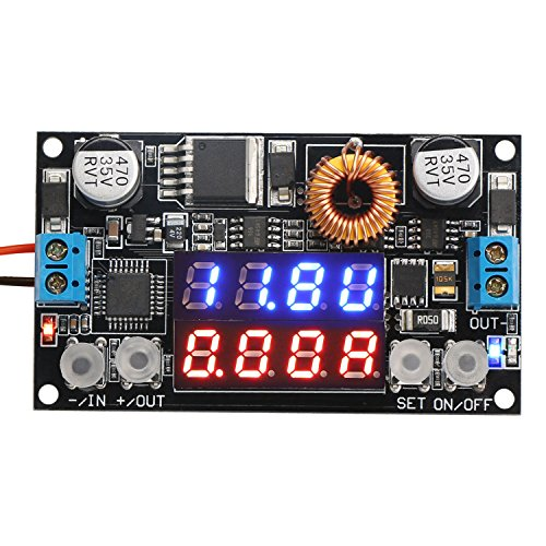 DROK® Numerical Control Voltage Regulator DC 5-32V to 0-30V 5A Buck Converter, 24V 12V to 5V Step Down Power Converter Adjustable Digital Control Voltage Reducer with LED Ammeter Voltmeter Display