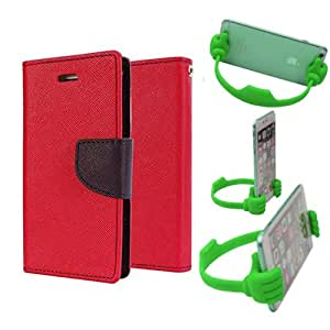 Aart Fancy Diary Card Wallet Flip Case Back Cover For Mircomax A110 - (Red) + Flexible Portable Mount Cradle Thumb Ok Stand Holder By Aart store