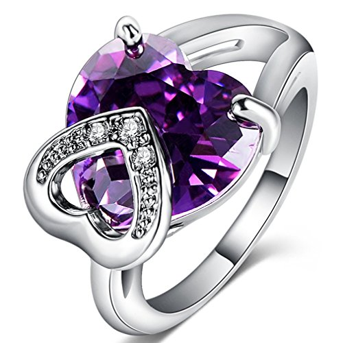 FENDINA Womens Jewelry Elegant Wedding Engagement Bands Ring Heart Amethyst Promise Rings for Her - 18K White Gold Plated - Luxurious Series-FR795 (9)