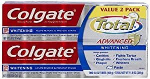 Colgate Total Advanced Whitening Paste Toothpaste, 5.8 oz, Twin Pack,