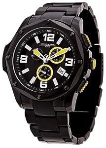 Jorg Gray JG9100-11 - Reloj cronógrafo de caballero de cuarzo con correa de acero inoxidable negra - sumergible a 100 metros
