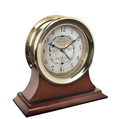 Captain's Time and Tide Clock with Mahogany Wood Base - Ship's Clock, Time and Tide, Solid Brass Case with Mahogany Wood Base, Nautical and Marine Accessory - 9.4 x 9.5 x 4 in