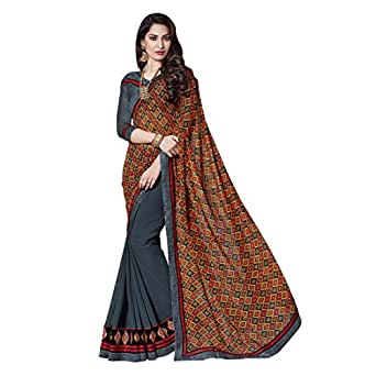multicolor embroidered georgette saree with blouse available at Amazon for Rs.522