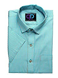 Formals by Koolpals-Cotton Blend SQUARES GREEN AND CREAM Shirt