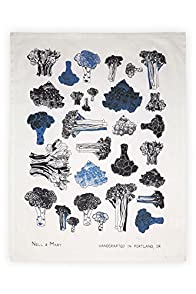 Nell and Mary Broccoli Organic Made in USA Tea Towel (Indigo)