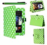 GadgetinBox⢠- Green Polka Dots Multi Function Standby Case for the New Kindle Fire HD 7