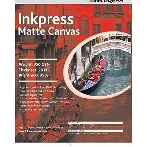 Inkpress ACW851150 Fine Art Matte Canvas 350 GSM 8.5in. X 11in. 50 Sheets
