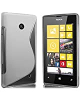 Excellent Accessories® Nokia Lumia 520 Premium TPU Hydro Grip S Line Wave Pattern Silicone Gel Skin Case Cover pouch + Free Screen Protector & Cleaning Cloth