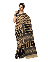 Fabdeal Indian Wear Light Brown Cotton Printed Saree