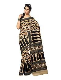 Ambaji Indian Wear Light Brown Cotton Printed Saree