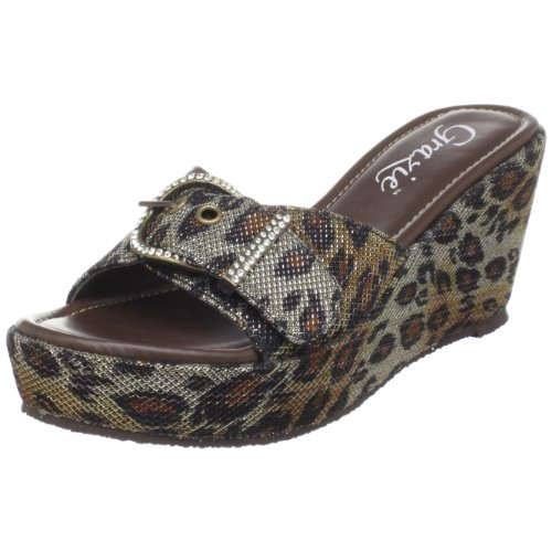 Grazie Women'S Jester Wedge Slide,Brown,6.5 B Us front-774362