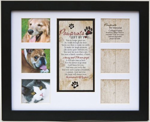 """Pet Memorial Collage Frame for Dog or Cat with Sympathy """"Paw"""