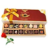 Valentine Chocholik's Belgium Chocolates - Treats Of Dark And White Chocolates With Red Rose