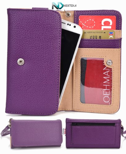 Huawei Ascend D Quad Xl [Purple] Universal Travel Clutch Purse / Cell Phone Case Cover And A Complimentary Complimentary Nextdia ™ Velcro Cable Wrap