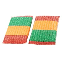 Sponge Padded Dish Pad Bowl Cup Scrub Cleaner 2 Pcs Multicolor